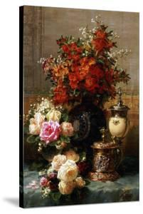 Still Life of Roses and Other Flowers by Jean Baptiste Claude Robie