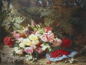 Still Life with Roses and Raspberries by Jean Baptiste Claude Robie