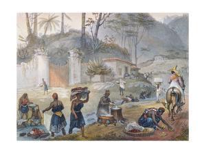 Black Washerwomen by a River, from 'Voyage Pittoresque Et Historique Au Bresil', 1839 by Jean Baptiste Debret