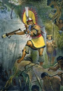 Coroado Indian Giving the Signal For Attack, Voyage Pittoresque et Historique Au Bresil by Jean Baptiste Debret