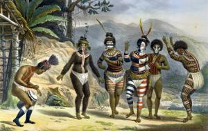 "Indians Dancing at the San Jose Mission, from ""Voyage Pittoresque Et Historique Au Bresil"" by Jean Baptiste Debret"