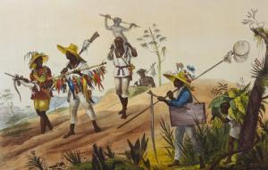 Native Hunters Return to the Town, Negres Chasseurs Rentrant en Ville by Jean Baptiste Debret