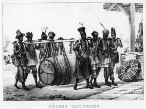 Negres Cangueiros' - Black Porters Carry a Cask, Engraved by Thierry Freres (Fl.1827-45), 1835 by Jean Baptiste Debret