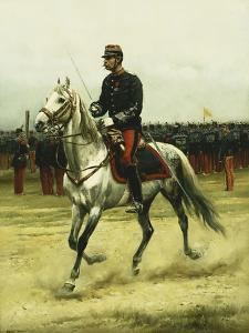 A Cavalry Officer Passing Troops, 1885 by Jean-Baptiste Edouard Detaille