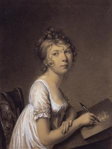 A Woman Drawing a Self-Portrait by Jean-Baptiste-Jacques Augustin