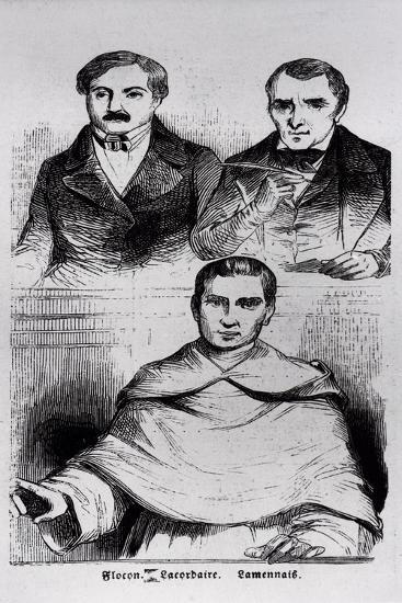 Jean-Baptiste Lacordaire, Fr. De Lamennais and F. Flocon--Giclee Print