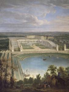 Vue de l'Orangerie et du château de Versailles depuis les hauteurs de Satory, au premier plan, la by Jean-Baptiste Martin