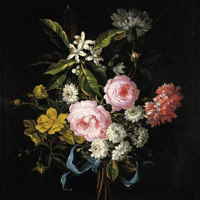Bouquet of Chamomile, Roses, Orange Blossom and Carnations Tied with a Blue Ribbon
