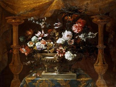 Still Life with Flowers in a Silver Vase with Perfume Burners, C.1690-99