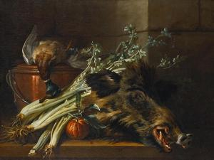 A Dead Mallard, a Boar's Head, Celery and a Copper Pot on a Ledge by Jean-Baptiste Oudry