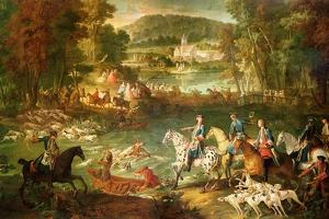 Hunting at the Saint-Jean Pond in the Forest of Compiegne, Before 1734 by Jean-Baptiste Oudry