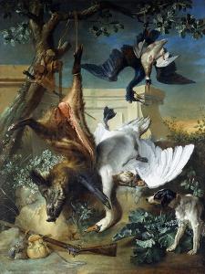 La Retour De Chasse: a Hunting Dog Guarding Dead Game by Jean-Baptiste Oudry