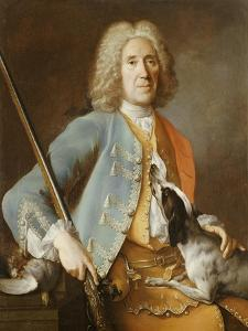 Portrait of a Sportsman Holding a Gun with a Hound by Jean-Baptiste Oudry
