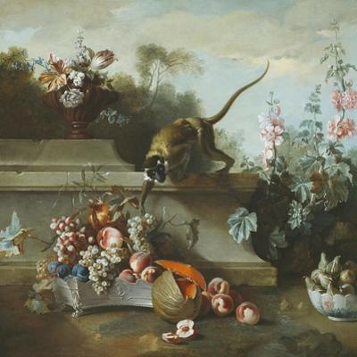 Still Life with Monkey, Fruits, and Flowers, 1724