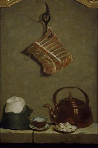 Still Life with Quarter of Meat, Sugar Bread, Copper Kettle and Cup by Jean-Baptiste Oudry