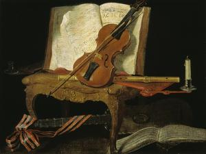 Stillleben mit Violine by Jean-Baptiste Oudry
