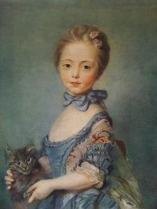 A Girl with Kitten, C1743 by Jean-Baptiste Perronneau