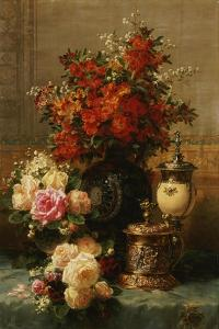 Still Life of roses and other flowers by Jean Baptiste Robie