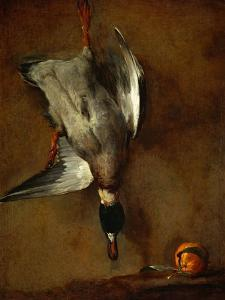 Duck, Hung on a Wall, and a Seville Orange by Jean-Baptiste Simeon Chardin