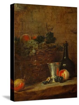 Fruit Basket with Grapes, a Silver Goblet and a Bottle, Peaches, Plums, and a Pear