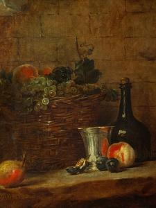Fruit Basket with Grapes, a Silver Goblet and a Bottle, Peaches, Plums, and a Pear by Jean-Baptiste Simeon Chardin