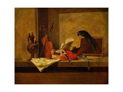 Instruments de musique et perroquet,1730-34 Musical instruments and a parrot. Canvas,117,5x73,4cm