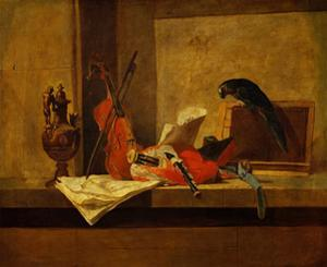 Instruments de musique et perroquet,1730-34 Musical instruments and a parrot. Canvas,117,5x73,4cm by JEAN-BAPTISTE-SIMEON CHARDIN