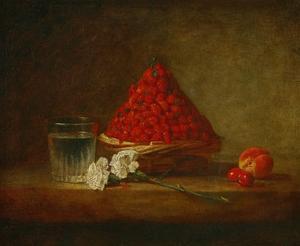 Le panier de fraises des bois - a basket of wild strawberries. Canvas,38 x 46 cm. by JEAN-BAPTISTE-SIMEON CHARDIN