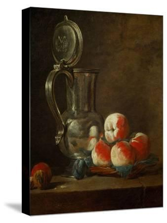 Pewter Pot with Plate of Peaches, Prunes and Nut, Around 1728