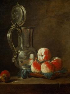 Pewter Pot with Plate of Peaches, Prunes and Nut, Around 1728 by Jean-Baptiste Simeon Chardin