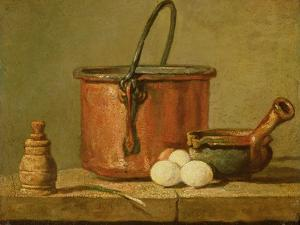 Still Life of Cooking Utensils, Cauldron, Frying Pan and Eggs by Jean-Baptiste Simeon Chardin