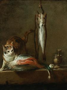 Still Life with Cat and Fish by Jean-Baptiste Simeon Chardin