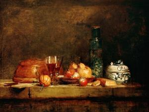 Still Life with Fruit and Glass of Olives by Jean-Baptiste Simeon Chardin