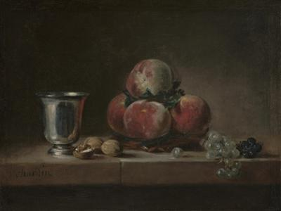 Still Life with Peaches, a Silver Goblet, Grapes, and Walnuts, c.1759-60 by Jean-Baptiste Simeon Chardin