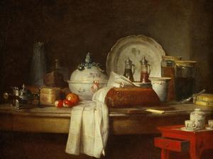 The Sideboard: Desert with Pie, Fruit and an by Jean-Baptiste Simeon Chardin
