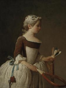 Young Girl Playing Badminton by Jean-Baptiste Simeon Chardin