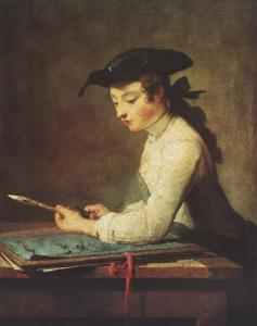 Young Man Sharpening Pencil by Jean-Baptiste Simeon Chardin