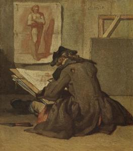 Young Student Drawing by Jean-Baptiste Simeon Chardin