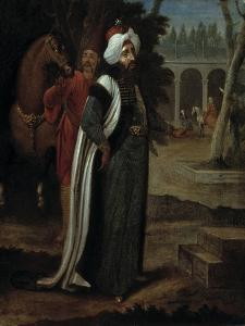 A Sultan with a Horse and a Page in the Second Court of the Seraglio by Jean Baptiste Vanmour