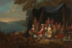 Fête champêtre with Turkish Courtiers under a Tent, c.1720-37 by Jean Baptiste Vanmour