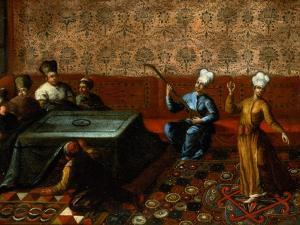 Figures Gathered Round a Kursi with a Musician and a Dancer Performing Before Them by Jean Baptiste Vanmour
