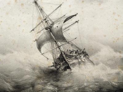SAILING SHIP POSTER Anchored Vessels Hermanus Koekkoek