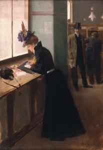 At the Telegraph by Jean Béraud