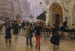 Boulevard Des Capucines at the Site of Theater Du Vaudeville, 1889 by Jean Béraud