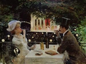 Dinner at Les Ambassadeurs, c.1882 by Jean Béraud