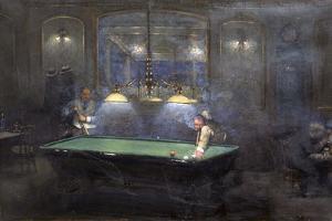 La Partie de billard by Jean Béraud