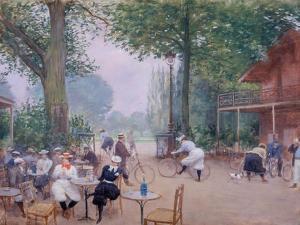 Le Châlet du cycle au Bois de Boulogne by Jean Béraud
