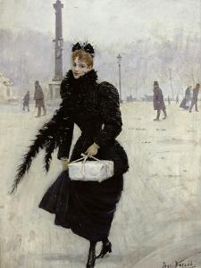 Parisian Woman in the Place de La Concorde, c.1890 by Jean Béraud