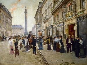 Sortie des ouvrières de la maison Paquin, rue de la Paix, vers 1902 by Jean Béraud