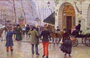 The Boulevard des Capucines and the Vaudeville Theatre, 1889 by Jean Béraud